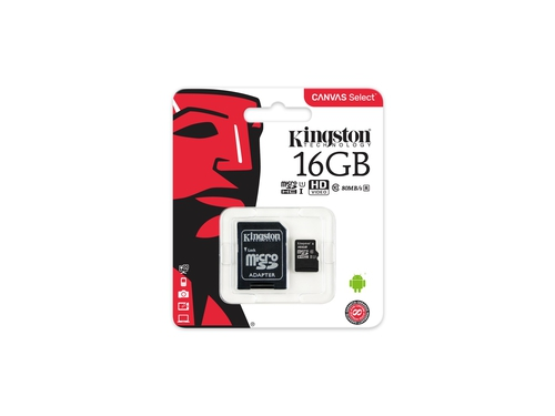 KINGSTON MICRO CANVAS SELECT UHS-I SDCS/16GB+ADAPT
