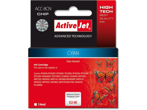 Activejet tusz Canon CLI-8 Magenta WITH CHIP ACC-8M - ACC-8MN