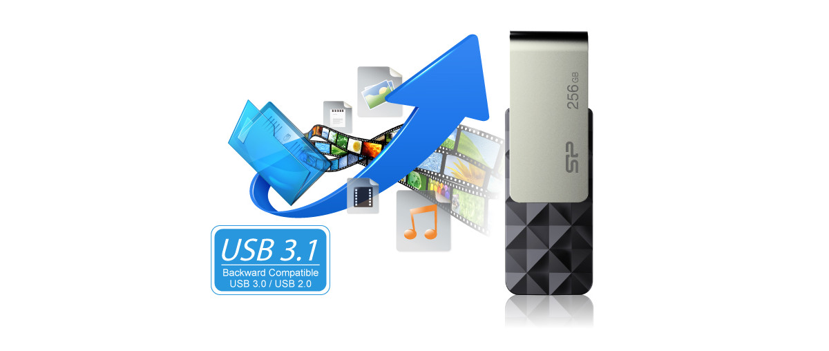 #Silicon Power Blaze B30 64GB USB 3.1 TSOP Black