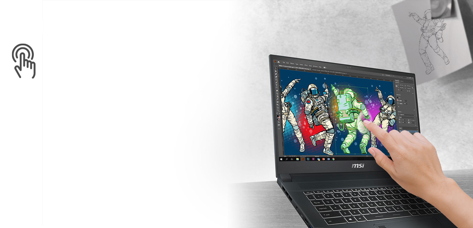 """#MSI Creator 15 A10SDT-091PL i7-10750H 15.6"""" FHD Finger Touch panel, 60Hz 16GB DDR4 3200MHz 512GB NVMe PCIe SSD GTX 1660 Ti Max-Q 6GB Windows 10 Home Advanced without ODD"""