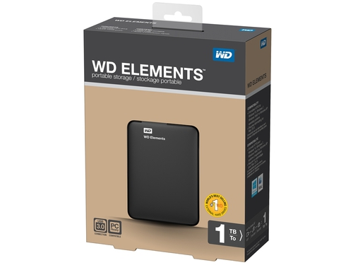 Dysk zewnętrzny WD Elements Portable 2.5'' 1TB USB3, Black + Dell MS111 Wired Optical Mouse - WDBUZG0010BBK-WESN