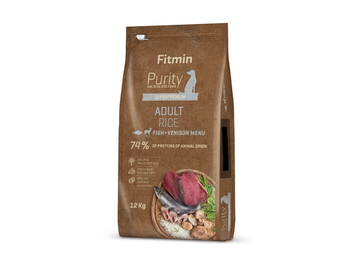 Fitmin Purity dog Rice Adult Fish & Venison 12 kg