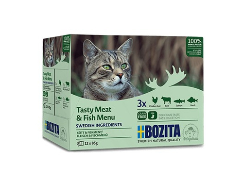 BOZITA Pouch Multibox Meat & Fish Menu 12x85g