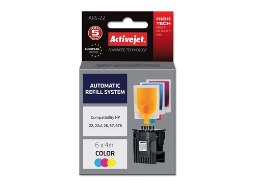 ActiveJet Automatic Refill System HP 22/28/57 Col 6x4ml ARS-22