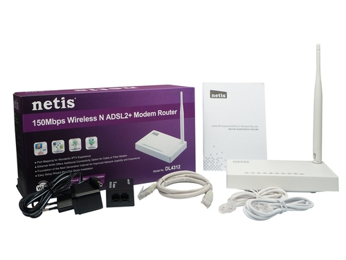 NETIS ROUTER ADSL DL4312 (N150, 4X 100MB, 2.4GHZ)