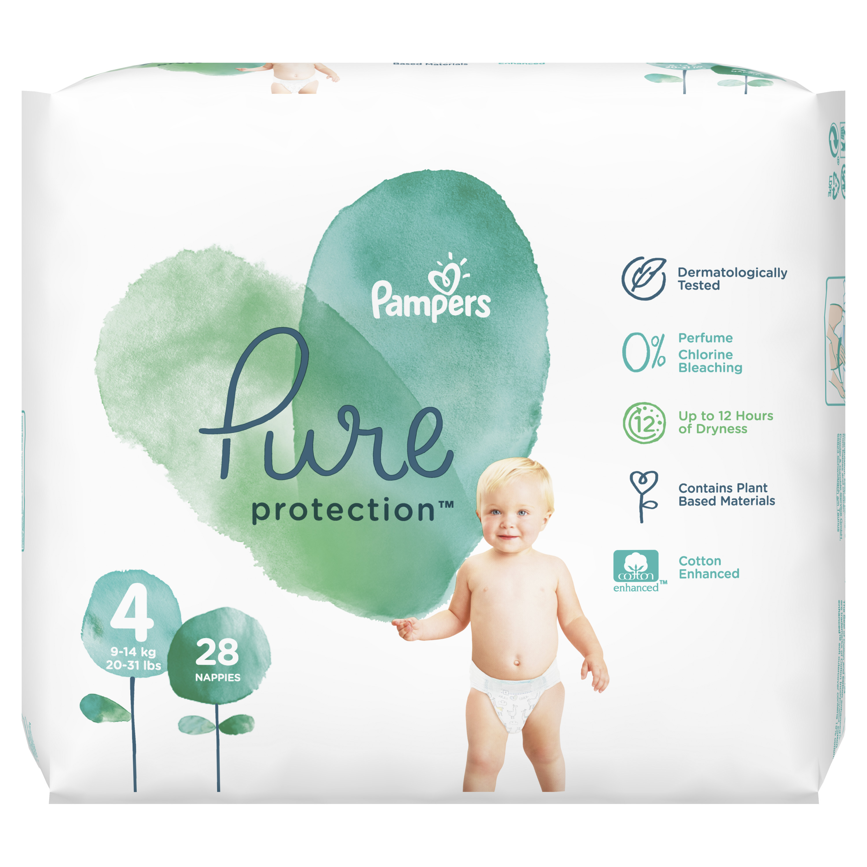 #Pampers Pure Protect Pieluchy Rozm. 4, 9-14kg,28szt