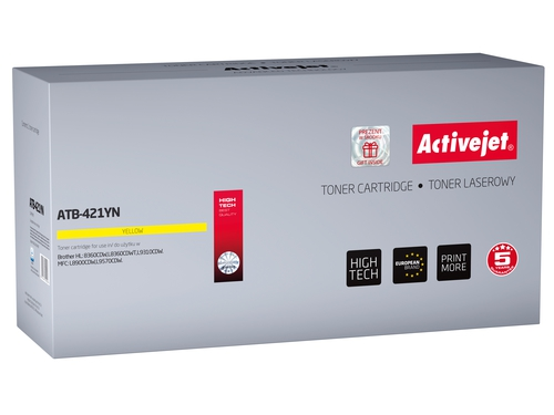 Toner Activejet ATB-421YN do drukarki Brother, Zamiennik Brother TN-421Y; Supreme; 1800 stron; żółty.
