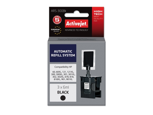 ActiveJet Automatic Refill System HP 300/301/901 Bk 3x6ml ARS-300B