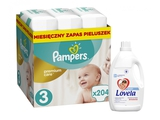 Pampers Pieluchy Premium Monthly Box S3 204 + LOVELA kolor 4,5l