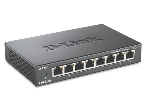 D-LINK DGS-108 8x1000Mbps Gigabit Switch Metal - DGS-108/E