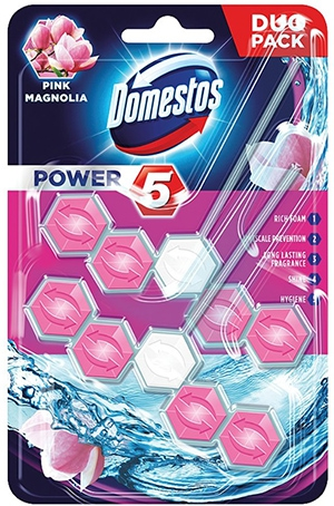 #DOMESTOS Power 5 Kostka zapachowa do WC Pink 2x55g