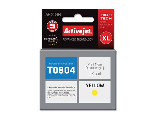 Activejet  tusz Eps T0804 R265/R360/RX560Yellow