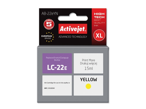 ActiveJet AB-22eYN tusz yellow do drukarki Brother (zamiennik Brother LC22EY) Supreme
