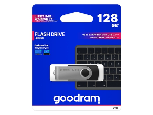 Pendrive Goodram Flashdrive 128GB USB 3.0 UTS Black - UTS3-1280K0R11