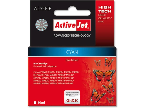 Activejet tusz Canon CLI-521 Cyan ref. ACR-521C