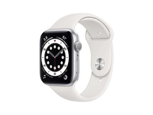 Apple Watch Series 6 GPS, 40mm Silver Aluminium Case with White Sport Band - Regular - MG283WB/A