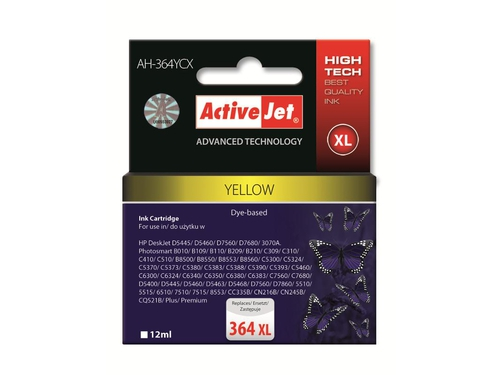 ActiveJet AH-364YCX (AH-C25) tusz yellow do drukarki HP (zamiennik HP 364XL CB325EE)..