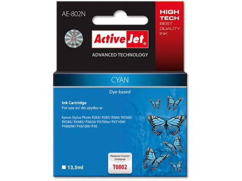 Activejet tusz Eps T0802 R265/R360/RX560 Cyan
